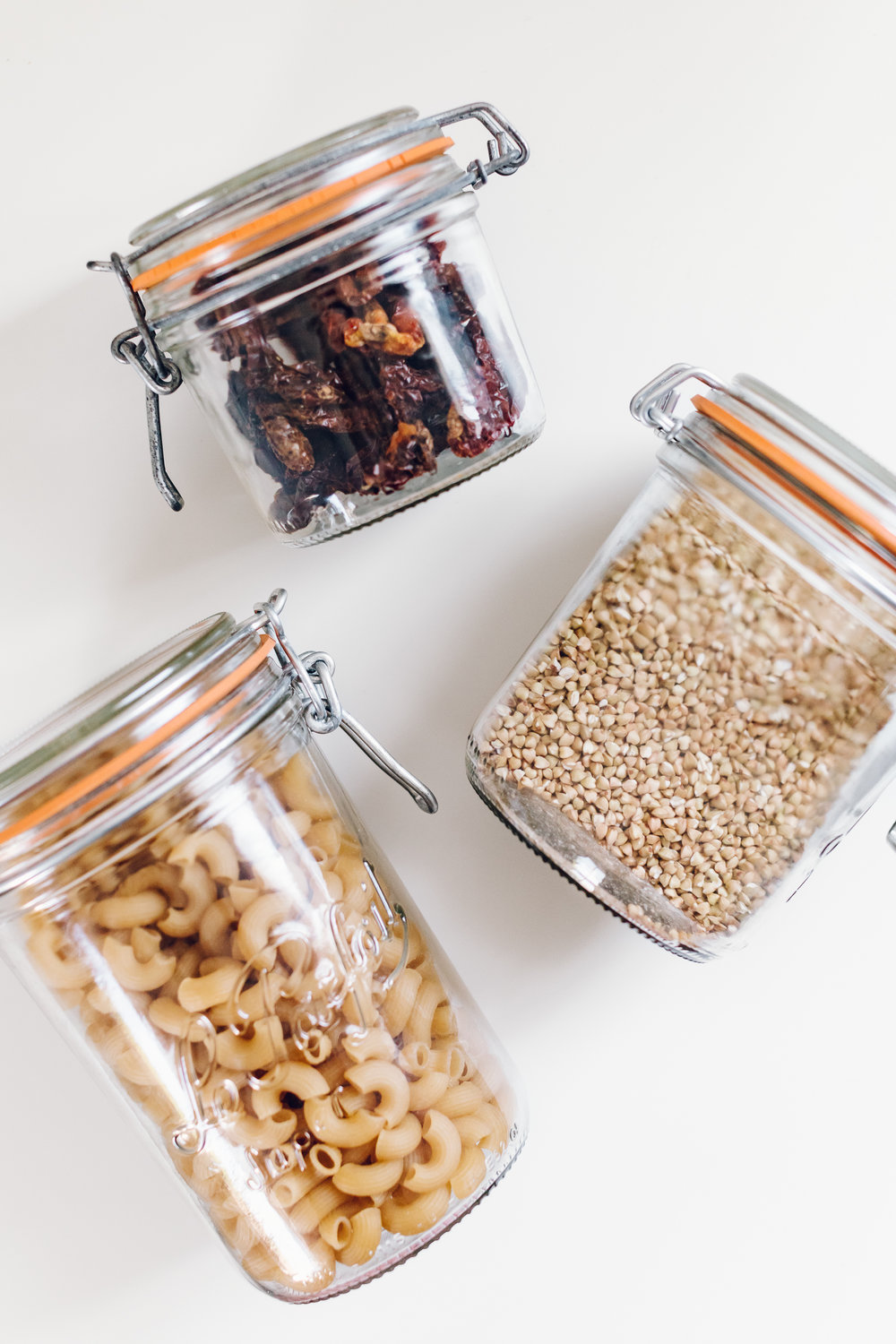 Le Parfait Jars - These jars are heavy duty, high quality, and my favorite for storing goods that I like to scoop thanks to their wide mouth opening.I get mine on Amazon, and use a variety of sizes and shapes - you really can't go wrong with any of these!