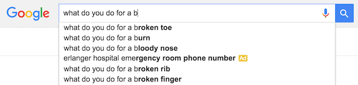 google autocomplete broken toe