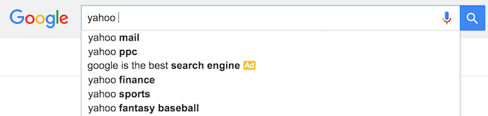 google autocomplete yahoo
