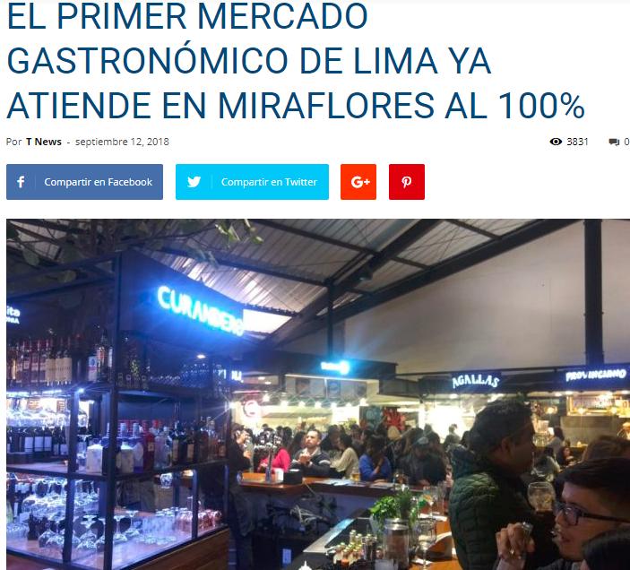 EL PRIMER MERCADO GASTRONÓMICO DE LIMA YA ATIENDE EN MIRAFLORES AL 100% - TNews