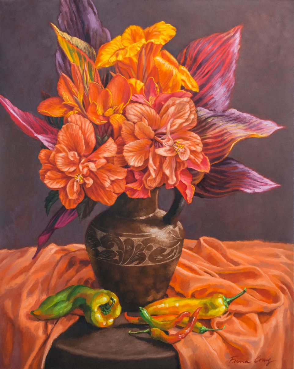 Hibiscus and Cannas in Balinese Jug