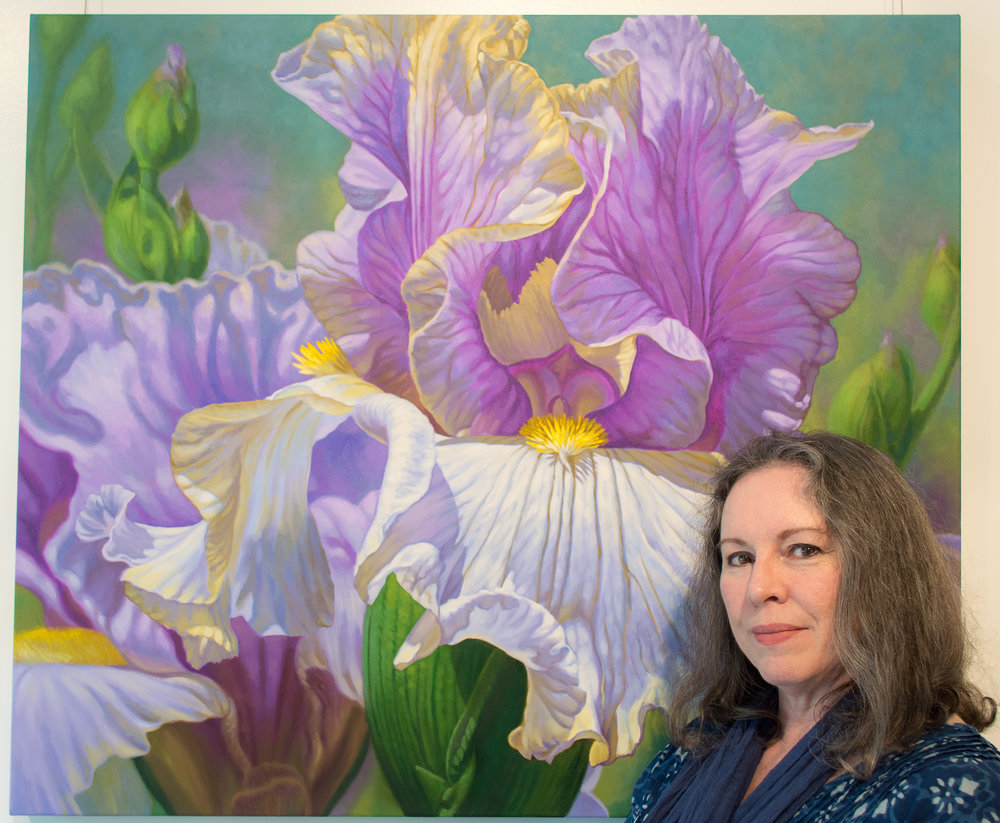 "Fiona Craig with 'Floralscape 4', oils, 42"" x 36"" x 1.5""., Chicago, 2018."
