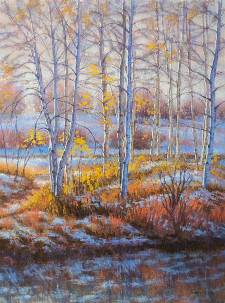"Birches in First Snow, 4 - Watercolour and soft pastel painting on wood panel, 18"" x 24"". x 1/8"". Requires framing. This artwork was inspired by the first snowfall of the cold season on autumn birch trees at a lake. The late afternoon sun highlights the foliage and tree trunks, bringing a warm glow to the frosty landscape."