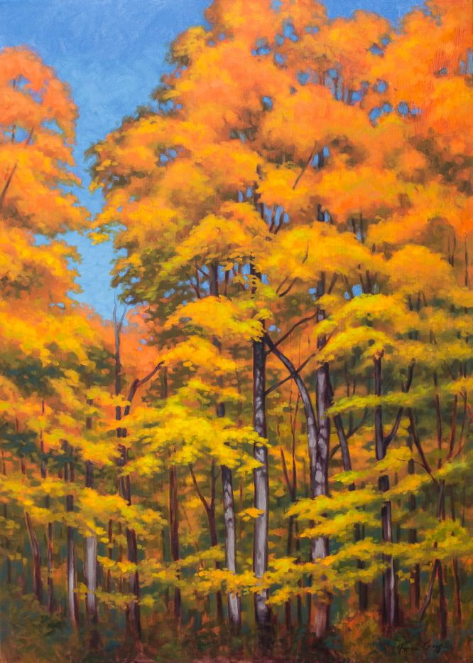 "Autumn Forest 1 - Oil on gallery-wrap canvas, 42"" x 30"" x 1.5"", ready to hang. A frame can be added. This painting was inspired by a maple forest in full autumn colour. Walking through this forest under canopies of glowing gold and orange, is a delightful, spirit-elevating experience."