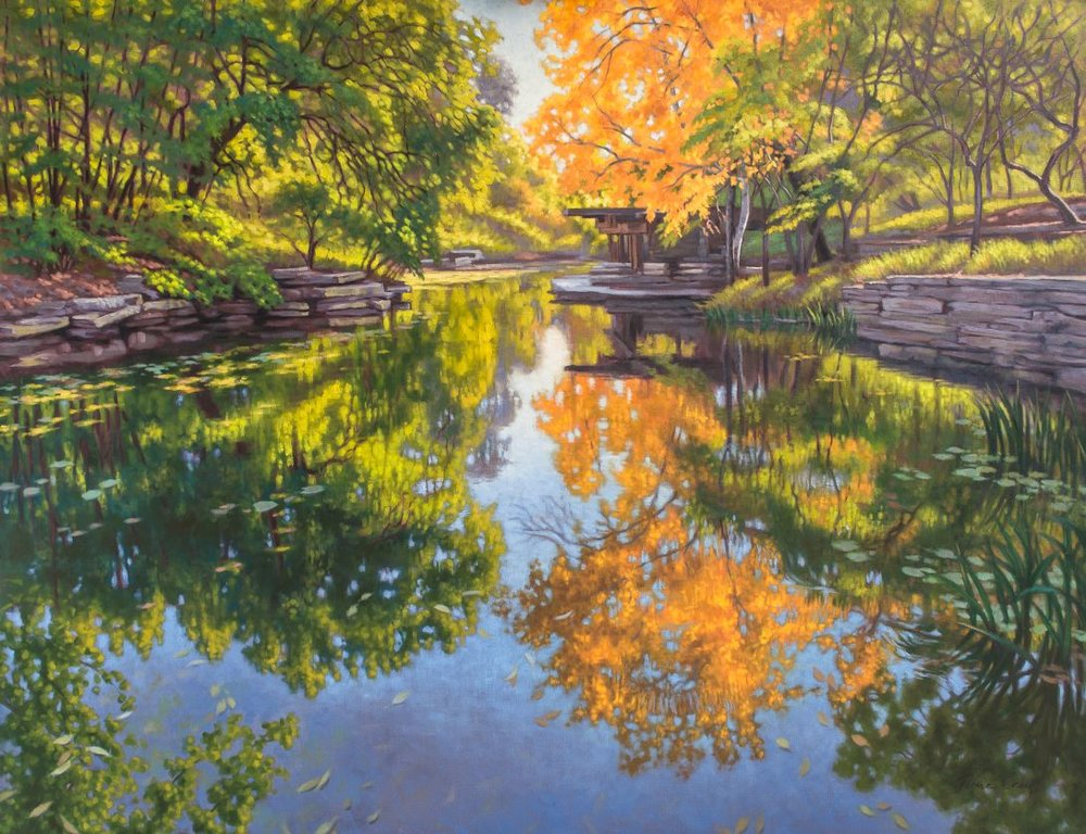 "Urban Oasis: Alfred Caldwell Lily Pool - Oil on gallery-wrap canvas, 40"" x 52"" x 1.5"", painted around the sides, ready to hang. This artwork followed my preliminary soft pastel drawing of the Chicago lily pool originally known as The Rookery. I attempted to capture the traquil yet vibrant mood of the scene."