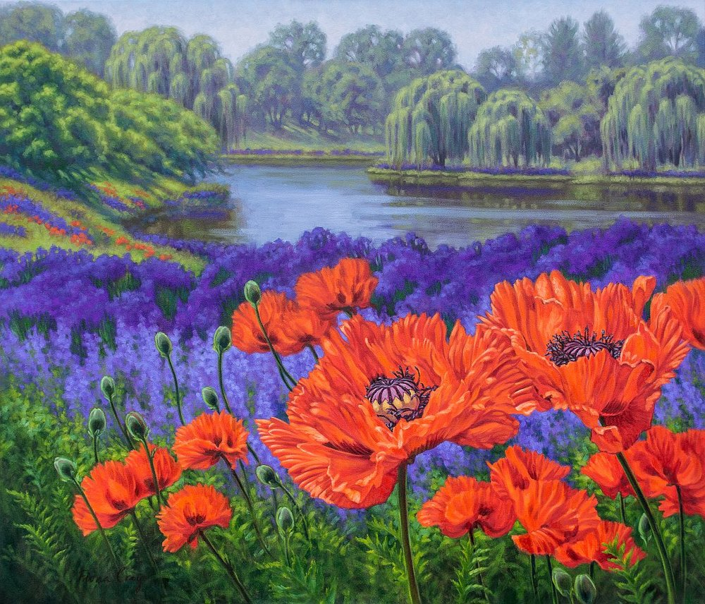 "Red Poppies, 2 - OIl on gallery-wrap canvas, 42"" x 36"" x 1.5"", ready to hang. This painting follows my preliminary pastel drawing (see previous post). Brilliant, scarlet, oriental poppies contrast vividly with a field of mauve and purple flowers and a tranquil, willow-banked lake at the Chicago Botanic Garden, Illinois."