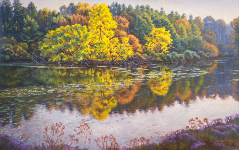 "Crown of the Lake - OIl on gallery-wrap canvas, 54"" x 38"" x 1.5"", ready to hang. Afternoon sunlight illuminates colourful autumn trees on a tiny island in Lake Marmo at the Morton Arboretum, Illinois."