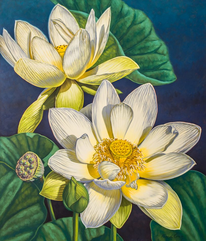 "'White Lotuses, 2', oils, 36"" x 42"", is one of the images on the Fiona Craig 2019 calendar."
