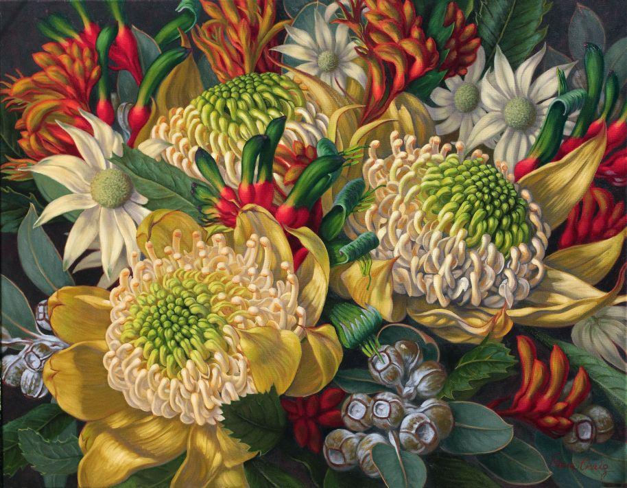 White Waratahs, Kangaroo Paws and Flannel Flowers, 1