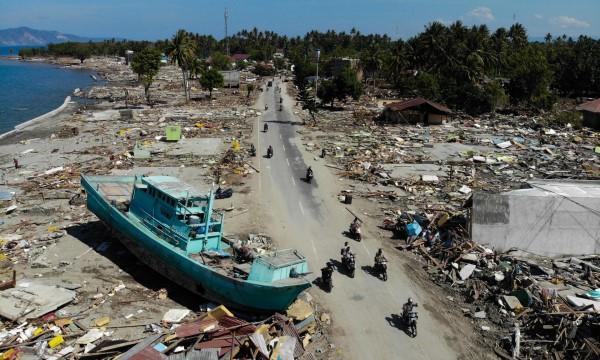 Destruction from the tsunami in Palu, Indonesia