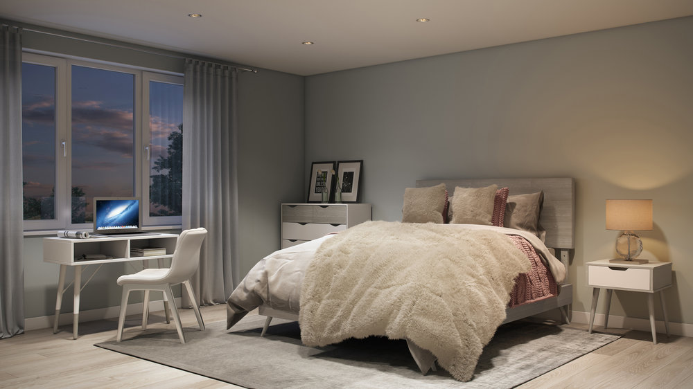 Complex Lifestyle Perspective, Comfortable Elegance Style Bedroom