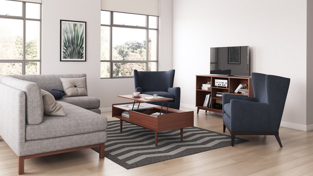 Complex Lifestyle Perspective, Mid-Century Style Living Room