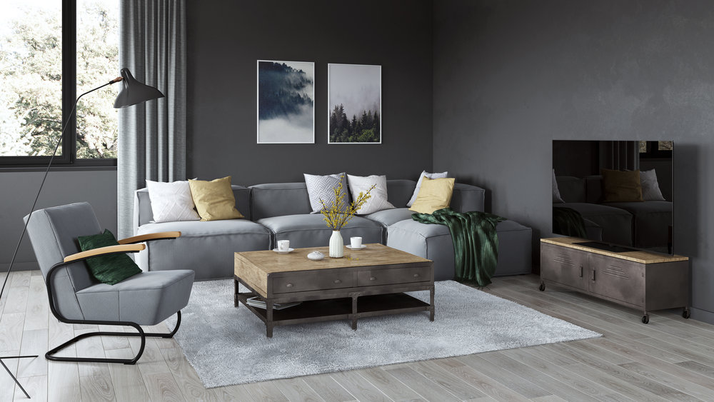 Complex Lifestyle Perspective, Industrial Style Living Room