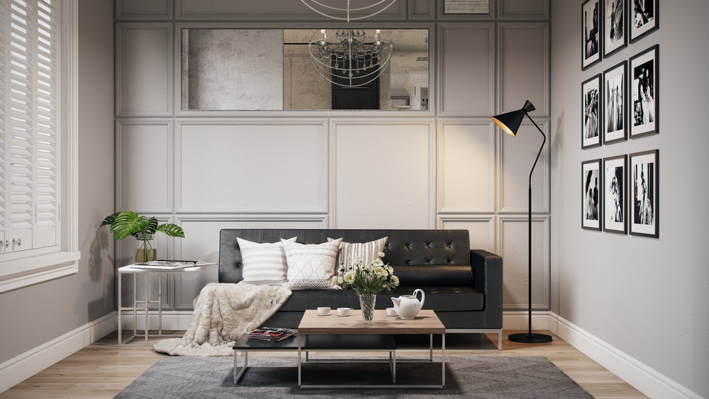 Complex Lifestyle Perspective, Black Leather Sofa