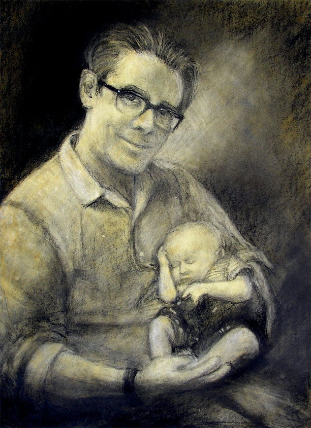 """Kevin / 20"""" x 15"""" charcoal, acrylic on board"""