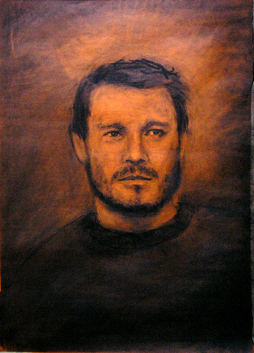 """Heath Ledger / 30"""" x 20"""" charcoal on tinted paper"""