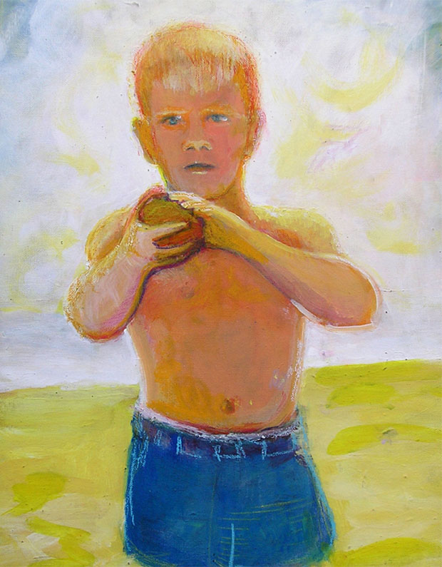 "Self Portrait at the beach / 20"" x 15"" acrylic on board"
