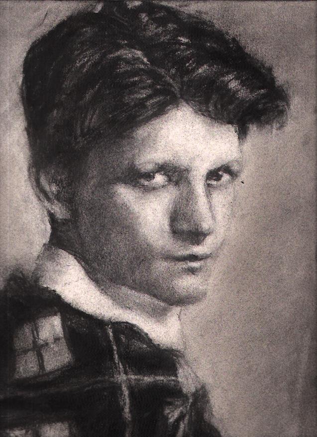 "Junior Durkin / 17"" x 11"" charcoal on paper"