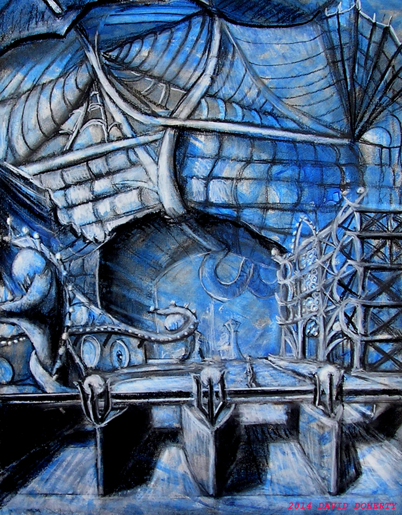 "A Bridge to the Park / 20"" x 15"" charcoal, pastel, acrylic on board"