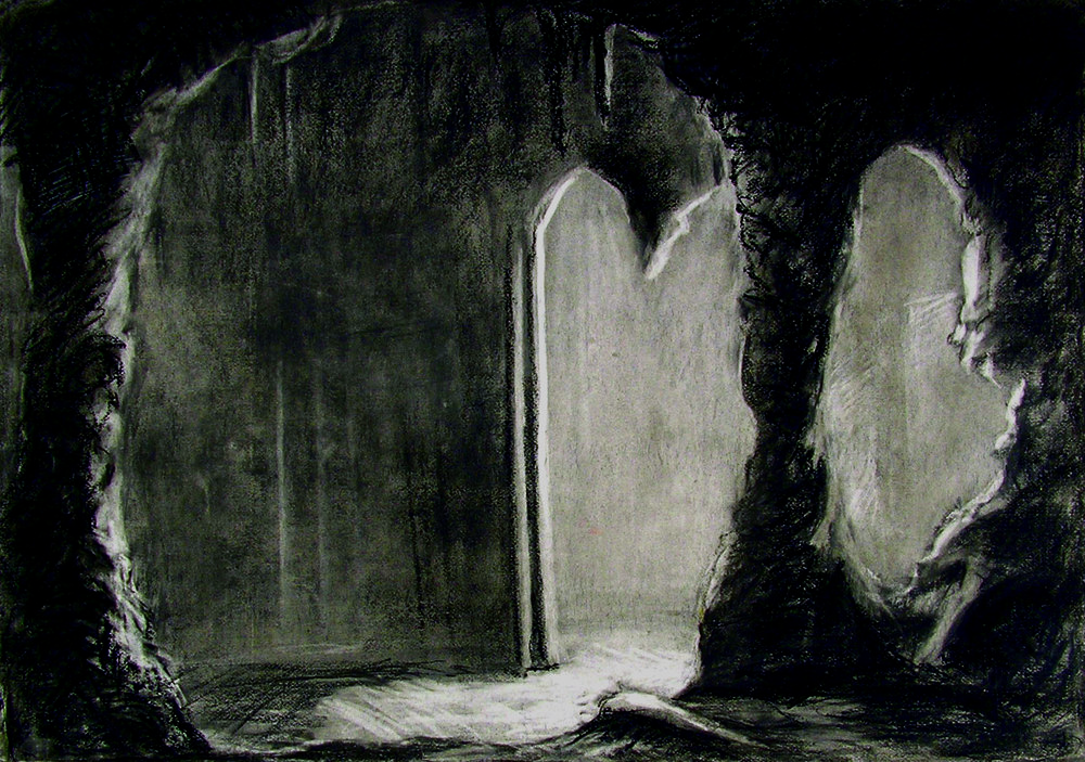 """Herrmann """"Prelude to Fahrenheit 451 : The Dressing Room"""" / 30"""" x 40"""" charcoal on paper"""