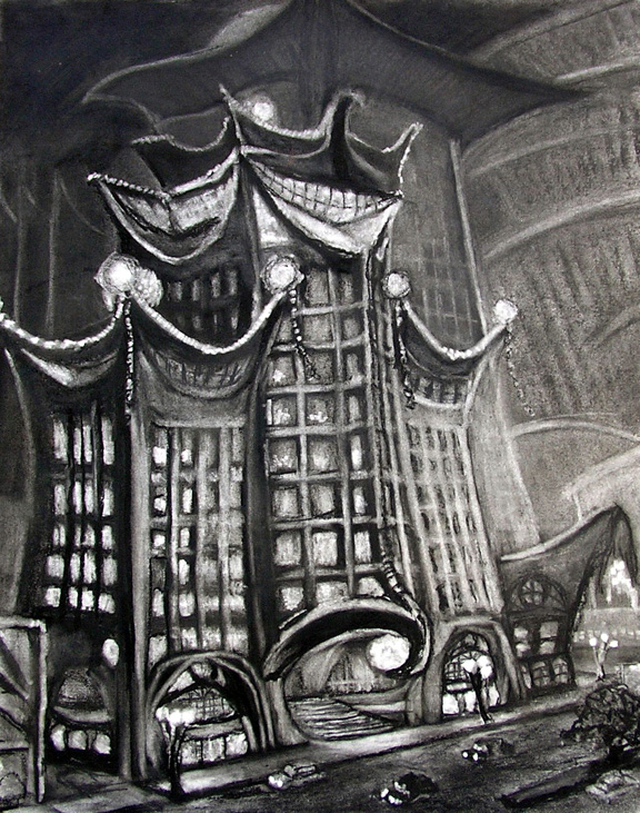"""The Carton Hotel / 30"""" x 20"""" charcoal, pastel on paper"""