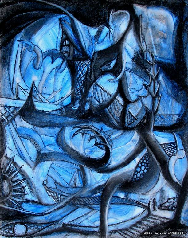 "Blue Noodles / 20"" x 15"" charcoal, pastel, acrylic on board"