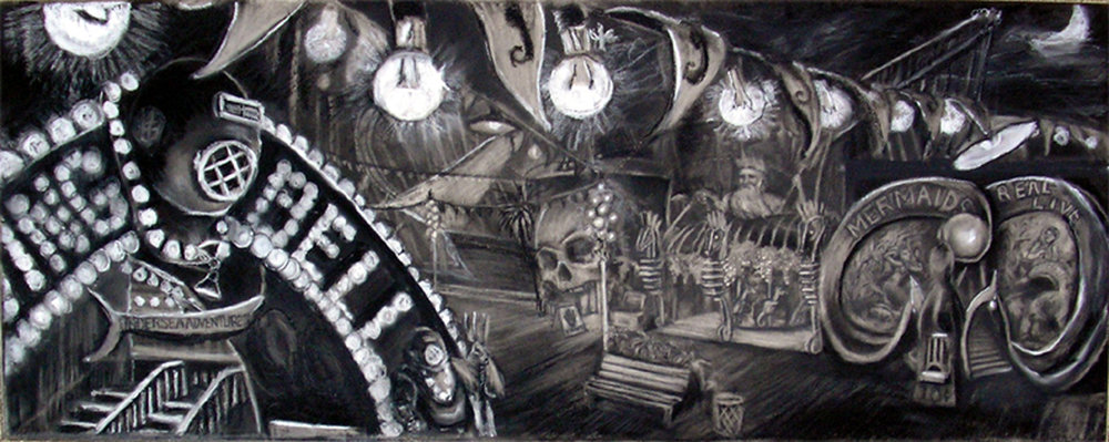 "Amusement Pier Midway / 24""x 61"" charcoal on paper"