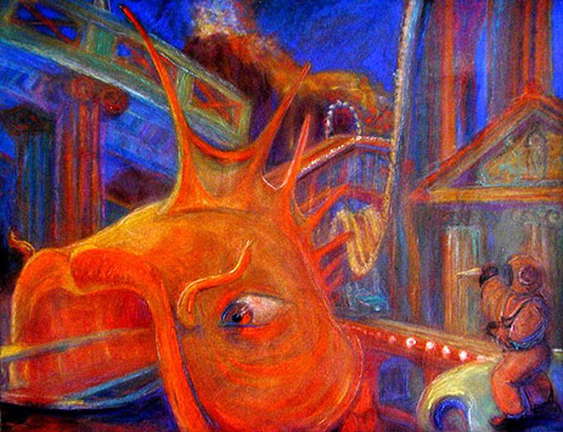 "Roller Coaster of Atlantis / 20"" x 30"" pastel on paper"