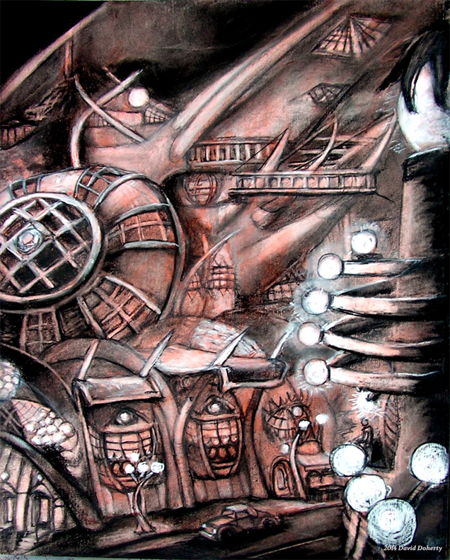 """The Button Building / 20"""" x 15"""" charcoal, pastel, acrylic on board"""