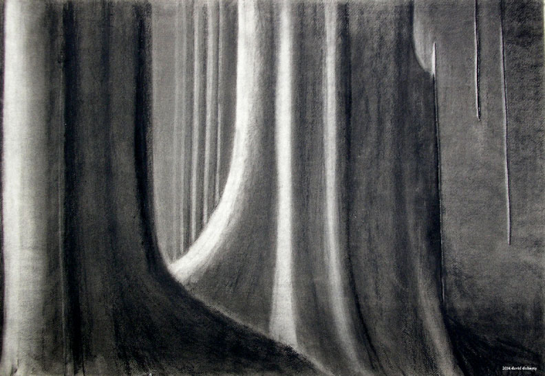 """Corridors and Light  / 30"""" x 40"""" charcoal on paper"""