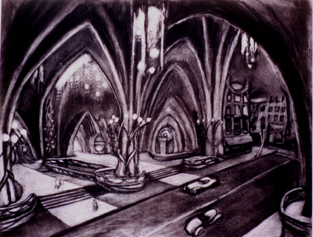 "Entrance to the Hotel / 20"" x 30"" charcoal on paper"