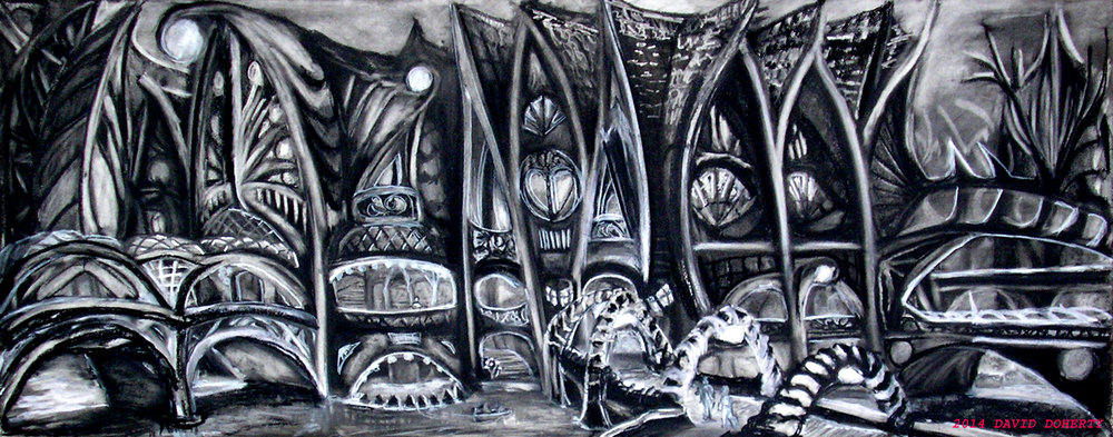 "The Canal Houses / 19"" x 48""  charcoal on paper"