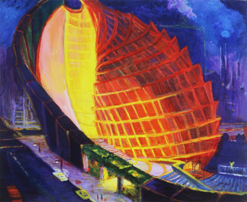 "Conical Opera House / 18"" x 20"" acrylic on canvas"