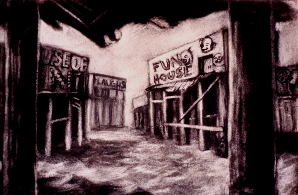 """Fun Houses / 11"""" x 14"""" charcoal on paper"""