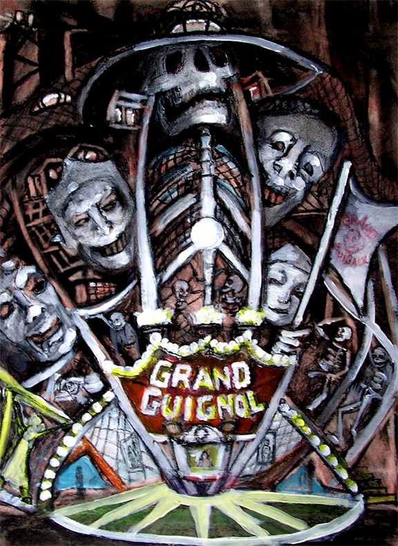 "Grand Guignol  / 20"" x 15"" charcoal, pastel, acrylic on board"
