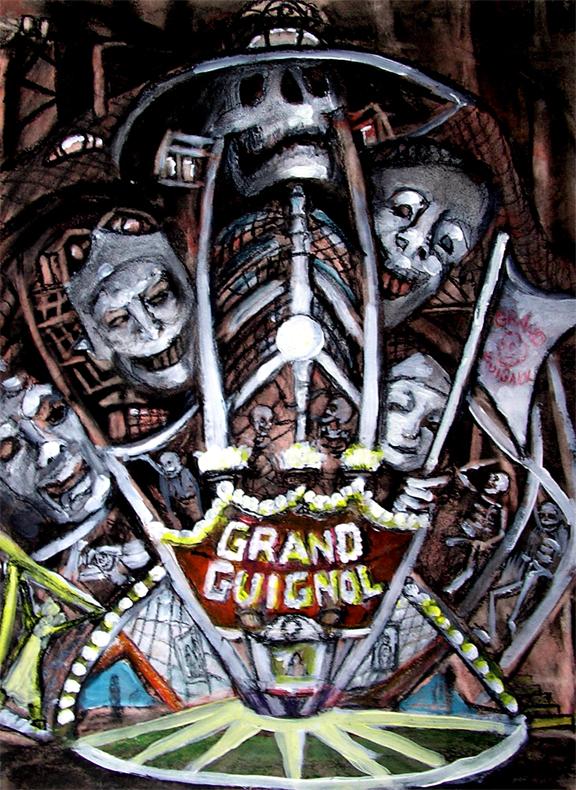 "Grand Guignol  / 20"" x 15"" charcoal, pastel, acrylic on board"