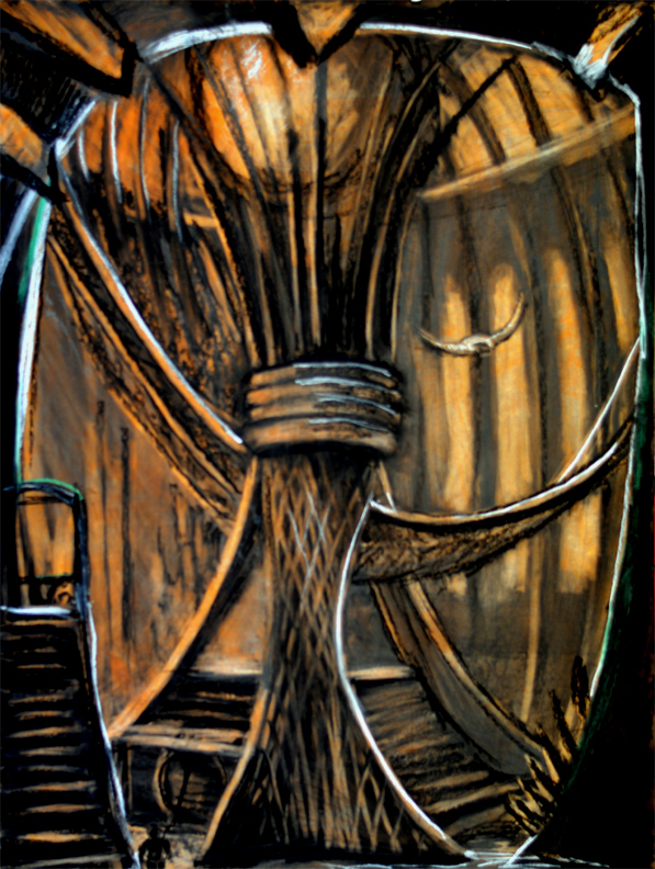"Debussy ""Sunken Cathedral : The back of the Altar / 40"" x 30"" charcoal, pastel, acrylic on board"