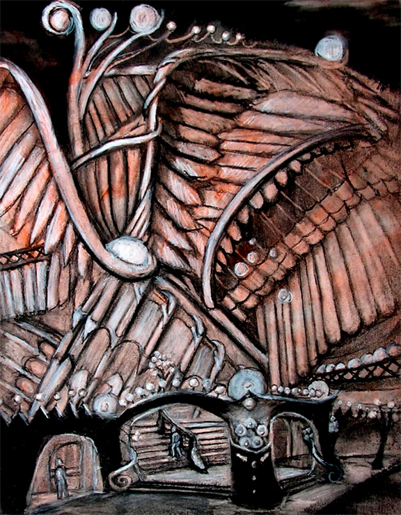 "The Wing Building / 20"" x 15"" charcoal, pastel, acrylic on board"