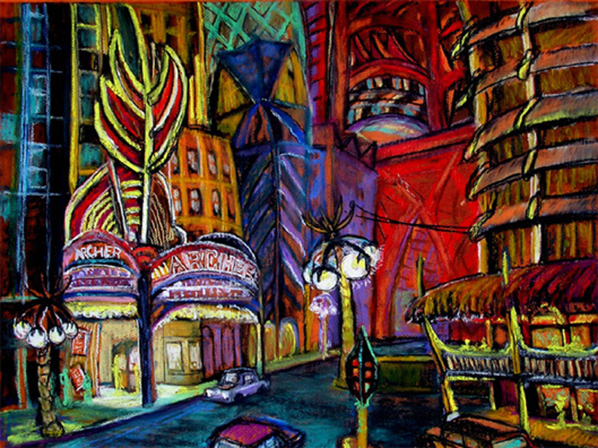 "The Archer Theater / 20"" x 30"" charcoal, pastel on paper"