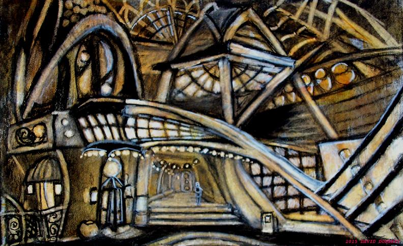 "Hotel Breezeway / 10"" x 16"" charcoal, pastel, acrylic on board"