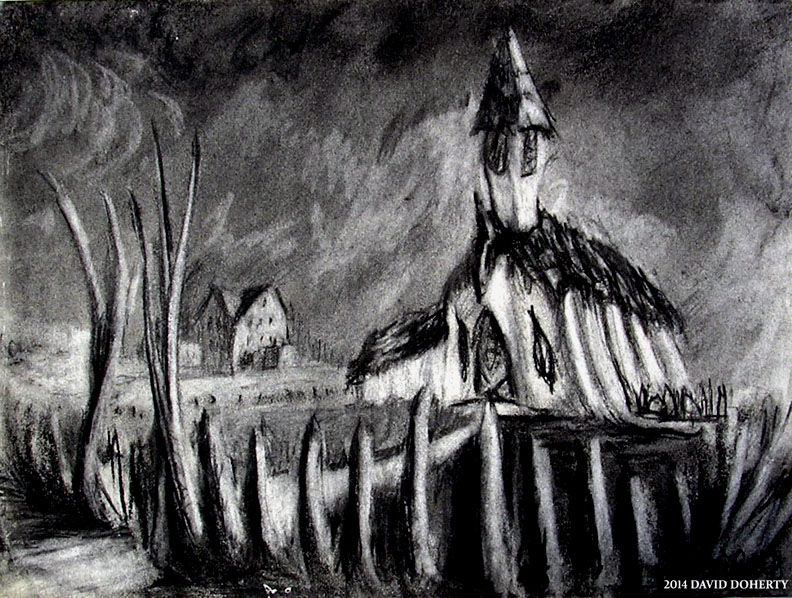 "Ambertown 1868 / 11"" x 14"" charcoal on paper"
