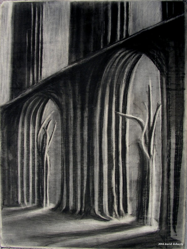 "Herrmann ""Prelude to Fahrenheit 451: The Idols"" / 30"" x 20"" charcoal on paper"