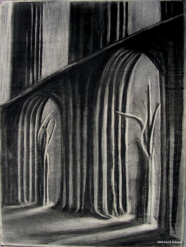 "Herrmann ""Prelude to Fahrenheit 451: The Idols"" / 30"" x 20"" charcoal on paper"