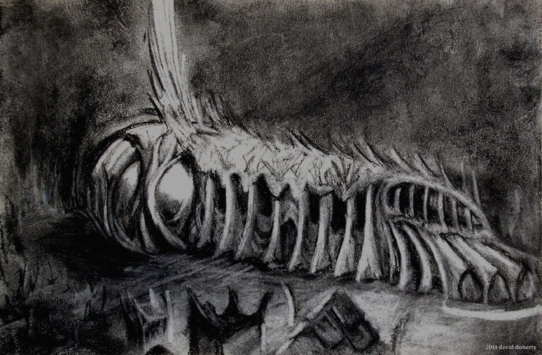 """St. Ambergris Cathedral / 11"""" x 14"""" charcoal on paper"""
