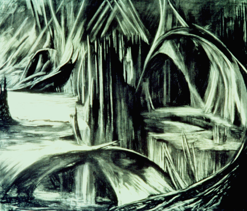 Green Cavern / 7' x 9' charcoal, pastel on photo backdrop paper