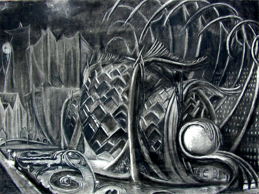 "Valkyrie Arts Center / 20"" x 30"" charcoal on paper"