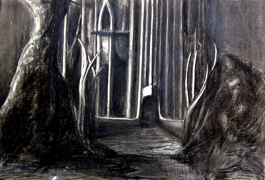"""Herrmann """"Prelude to Fahrenheit 451 : Castle Entrance"""" / 30"""" x 40"""" charcoal on paper"""