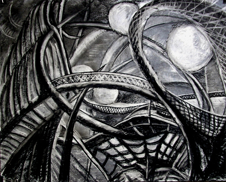 """So Far So Good on the Boat Ride /  30"""" x 40"""" charcoal and pastel on board"""