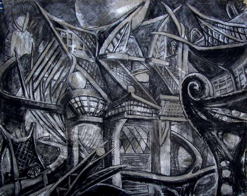 """Ghost Houses on the Boat Ride / 30"""" x 40"""" charcoal. pastel, acrylic on board"""