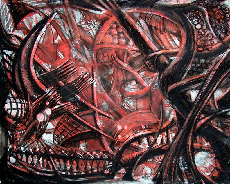 """The Red Room on the Boat Ride / 30"""" x 40"""" charcoal, pastel, acrylic on board"""